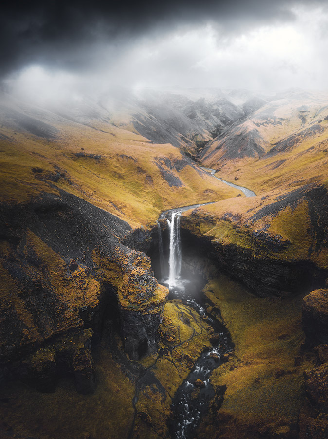 Drone photography of Kvernufoss waterfall on Iceland