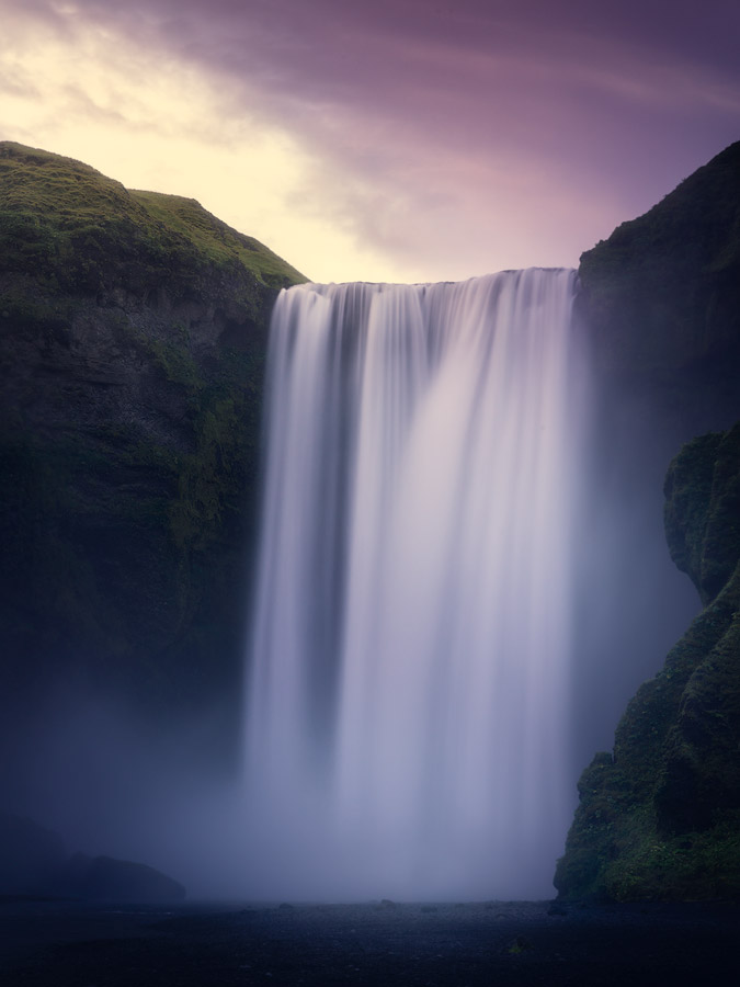 Sunset at Skogafoss waterfall on Iceland