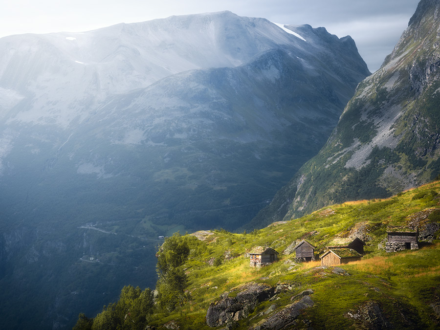 Old farm houses in Geiranger, Norway