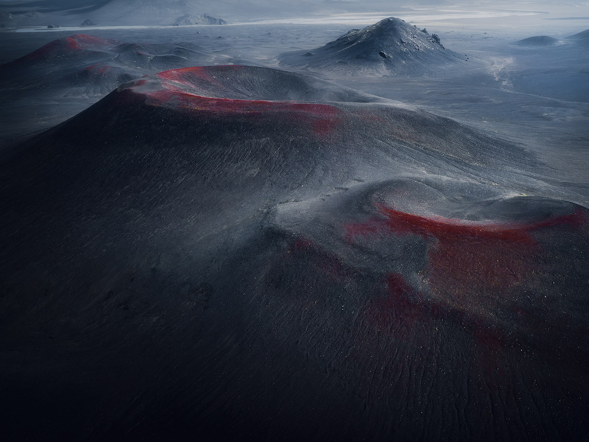 The red and bleeding volcano craters on Iceland